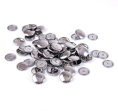 Hemline Self Cover Covered Brass Silver Buttons Metal Snap On Back Bulk Buy NEW