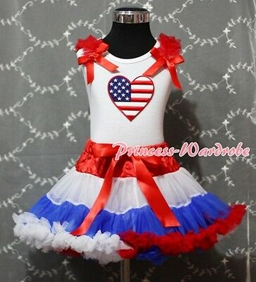Red White Blue Pettiskirt White Pettitop wif Patriotic Heart Red Bows Set 1-8Y