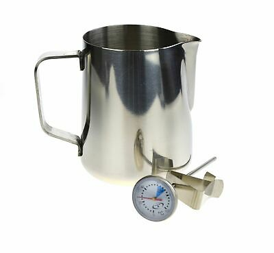 NEW 600ml MILK JUG & THERMOMETER SET Espresso Coffee Cappuccino Stainless Steel