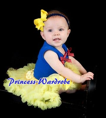 Snow White Yellow Baby Pettiskirt Tutu Royal Blue Top wif Optional Ruffles 3-12M