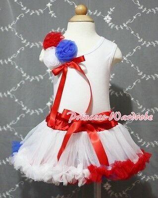 Newborn Baby Red White Blue Pettiskirt Tutu a Bunch of Rose White Top Set 3-12M