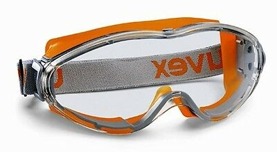UVEX Ultrasonic 9302-245 Safety Goggles Anti Mist Scratch Clear Lens Orange Grey