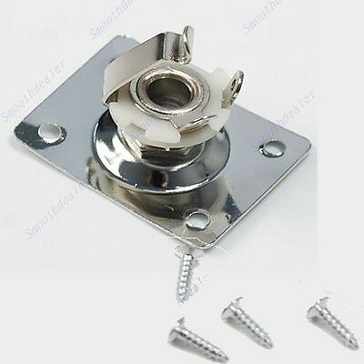 Guitar Jack Plate + Output Socket Chrome Rectangle For Gibson Epiphone