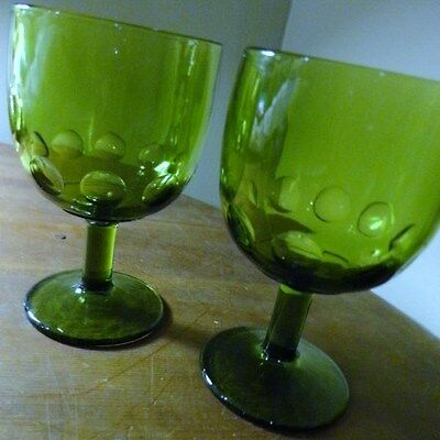 VINTAGE 2 OLIVE GREEN INDIANA GLASS FOOTED ICECREAM BOWL GOBLET