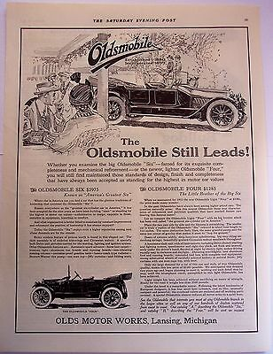 "Oldsmobile ""Six"" and ""Four"" Cars original vintage 1914 Ad"