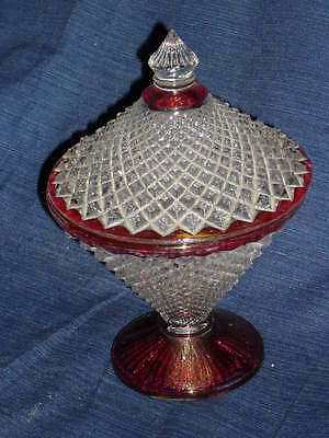 """8"""" Clear & Pink GLASS CANDY DISH w/LID diamond shaped design"""