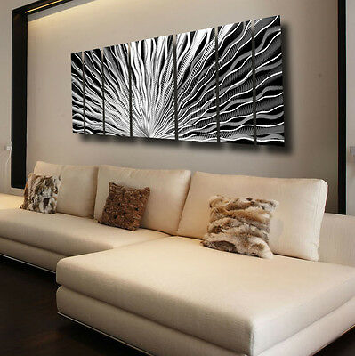 Large Silver Metal Wall Art Panels Modern Abstract Indoor / Outdoor Home Decor