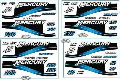 Mercury Outboard Motor BLUE 90 HP Horse Power Decal Kit - Saltwater EFI Decals