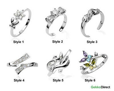 Sterling Silver Cubic Zirconia Toe Rings - Various Styles Available