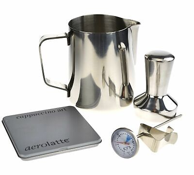 NEW STAINLESS STEEL BARISTA PACK Coffee Tamper Stencil Jug Thermometer 600ml