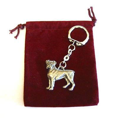 Boxer Dog Pewter Keyring FREE POUCH Pet Vet Fathers Day Gift NEW