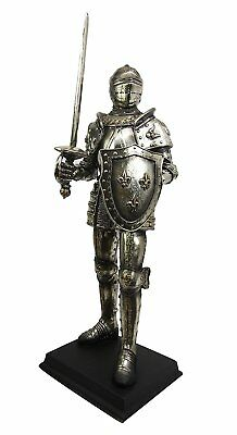 "Medieval Knight of Valor Suit of Armor Elite Guard Statue 16"" Tall Figurine"
