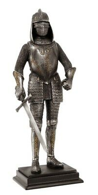 "Elite Swordsman Statue 12"" Tall Figurine Medieval Knight of Valor Suit of Armor"