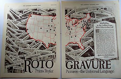 1924 original 2-page vintage Ad Rotogravure newspapers by Kimberly-Clark Company