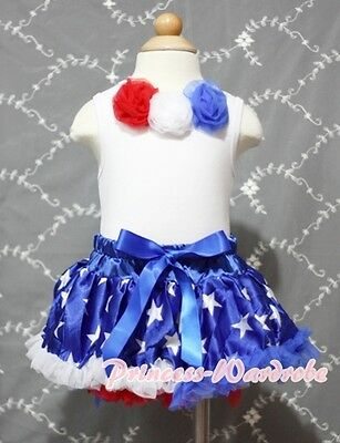 Newborn Baby Blue Patriotic Star Pettiskirt with Patriotic Rose White Top 3-12M