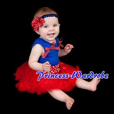 Newborn Baby Red Minnie Dots Pettiskirt Tutu Optional Acce. Royal Blue Top 3-12M
