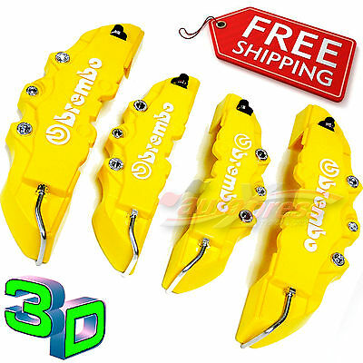 3D YELLOW BREMBO Style Brake Caliper Covers 4 Pieces Front & Rear UNIVERSAL Set