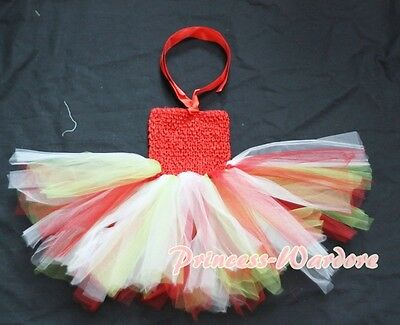 Baby HANDMADE Red White Green Knotted Tulle Tutu Red Crochet Tube Top SET NB-2Y