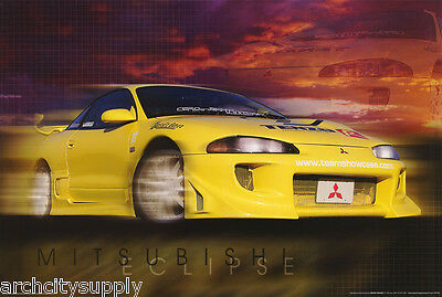 POSTER - MITSUBISHI ECLIPSE - YELLOW   -       FREE SHIPPING !  #ST3140 RC26 i