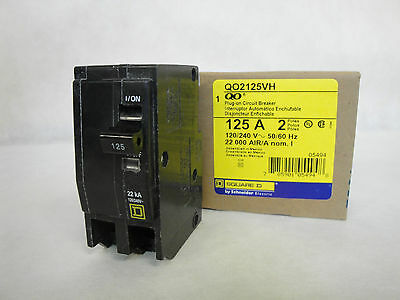 New In Box Square D Qo2125Vh Plug-On Circuit Breaker 2 Pole 125 Amp