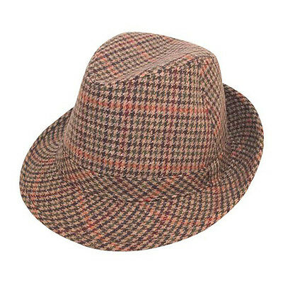 TWEED TRILBY FEDORA Hat GREY PINK Wool Hawkins Fabric Men Ladies ... 12e6e680e50e