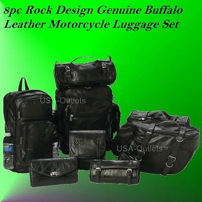 NEW 8PC LEATHER MOTORCYCLE SADDLEBAGS SISSY TOOL BAG SET FOR HARLEY SPORTSTER