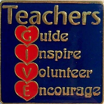 """Teachers G.I.V.E..."" Heart Enamel Lapel Pins, Lot of 25 All New Line!"