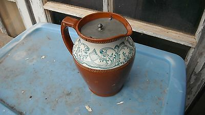 antique vtg19th century English covered jug/pewter lid,pitcher brown/redware