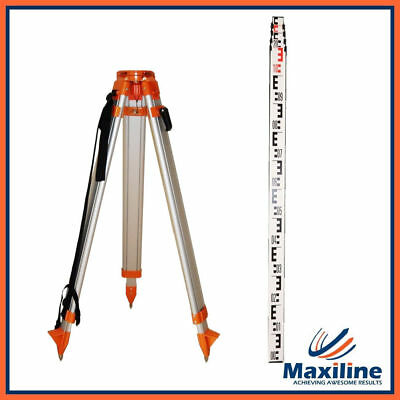 Aluminum Tripod + 5m Staff for Line Laser Rotary Rotation Laser Dumpy Level