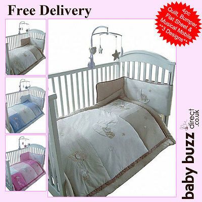 4 pcs Snuggle Baby, Baby Cot Quilt and Bumper Set - 3 designs available