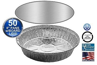 """8"""" Round Aluminum Foil Take-Out Pan w/Board Lid 50 PK - Disposable Containers"""