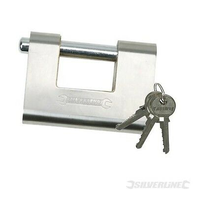 SILVERLINE ANTI-DRILL 81mm ARMOURED SECURITY SHUTTER PAD LOCK (380651)