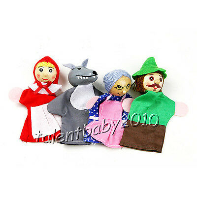 4X Wooden Finger Puppets/little Red Riding Hood