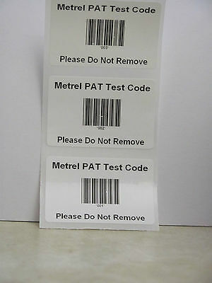 Barcode Autotest Shortcut Code Labels for Metrel Betapat, Omegapat PAT Testers