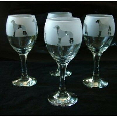 Saluki dog Gift Wine Glasses set of 4