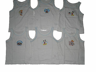 Baby Boys 2 Pack Character Vest Tops Mickey/bob/thomas 18-24 Months New