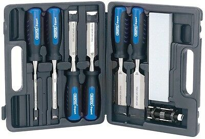 Draper Expert 8 Piece Wood Chisel Kit Set With Sharpening Stone & Carry Case