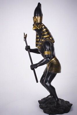 Horus Statue God of War & Protection Egyptian Black Gold Figurine Deity Sky Sun