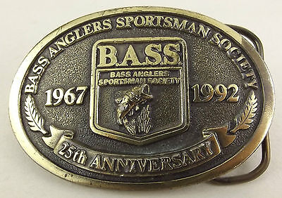 Bass Anglers Sportsman Society Belt Buckle 25th Anniversary 1992 Sport Fishing