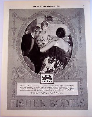1924 original vintage ad Body by Fisher for automobiles