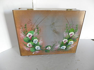 Wood Wooden Jewelry Writing Hand Painted Floral Trinket Box