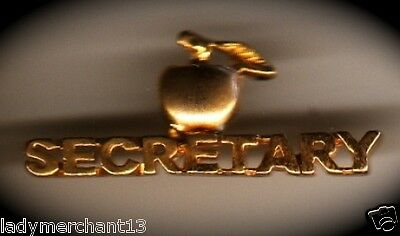 """SECRETARY"" Golden Apple Enamel Lapel Pins/Lot of 25/ALL NEW!"