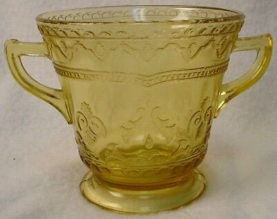 Depression Glass Open Sugar Bowl Amber Patrician Yellow
