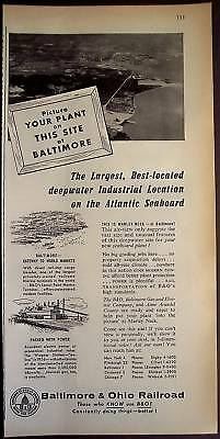 1956 B&O Railroad Marley Neck in Baltimore business ad