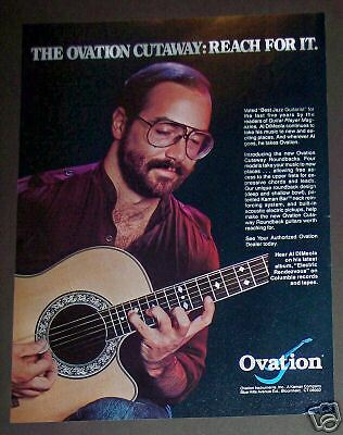 1982 Al DiMeola photo Ovation cutaway guitar ad