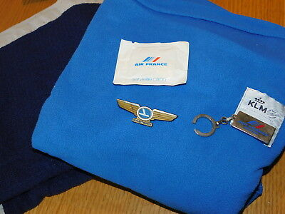 vintage LOT AIR FRANCE KLM LUFTHANSA couverture BLANKET aircraft PORTE CLE avion