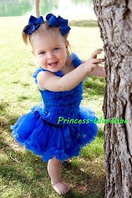 Royal Blue Pettiskirt Tutu Royal Blue Ruffles top Set For Newborn Baby 3-12Month