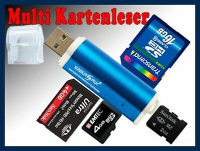 Micro SD Card Reader M2 Kartenleser SDHC USB Adapter Blau