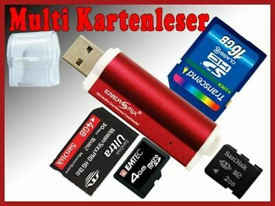 Micro SD Card Reader M2 Kartenleser SDHC USB Adapter Rot