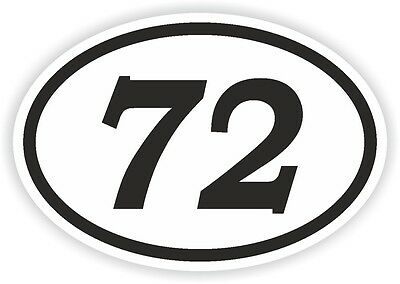 72 SEVENTY-TWO NUMBER OVAL STICKER bumper decal motocross motorcycle Aufkleber